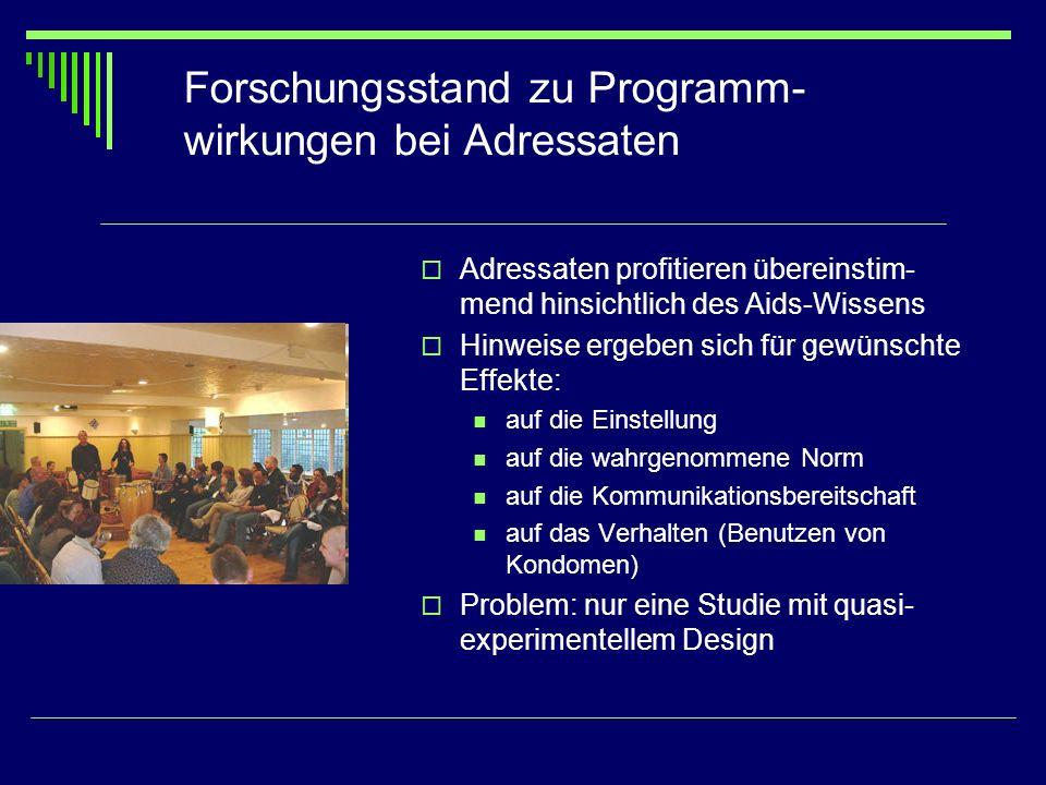 Forschungsstand zu Programm-wirkungen bei Adressaten
