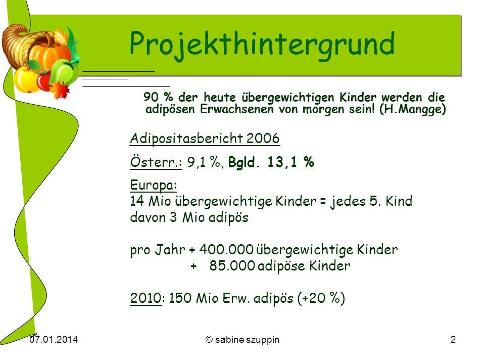 Projekthintergrund Adipositasbericht 2006 Österr.: 9,1 %, Bgld. 13,1 %
