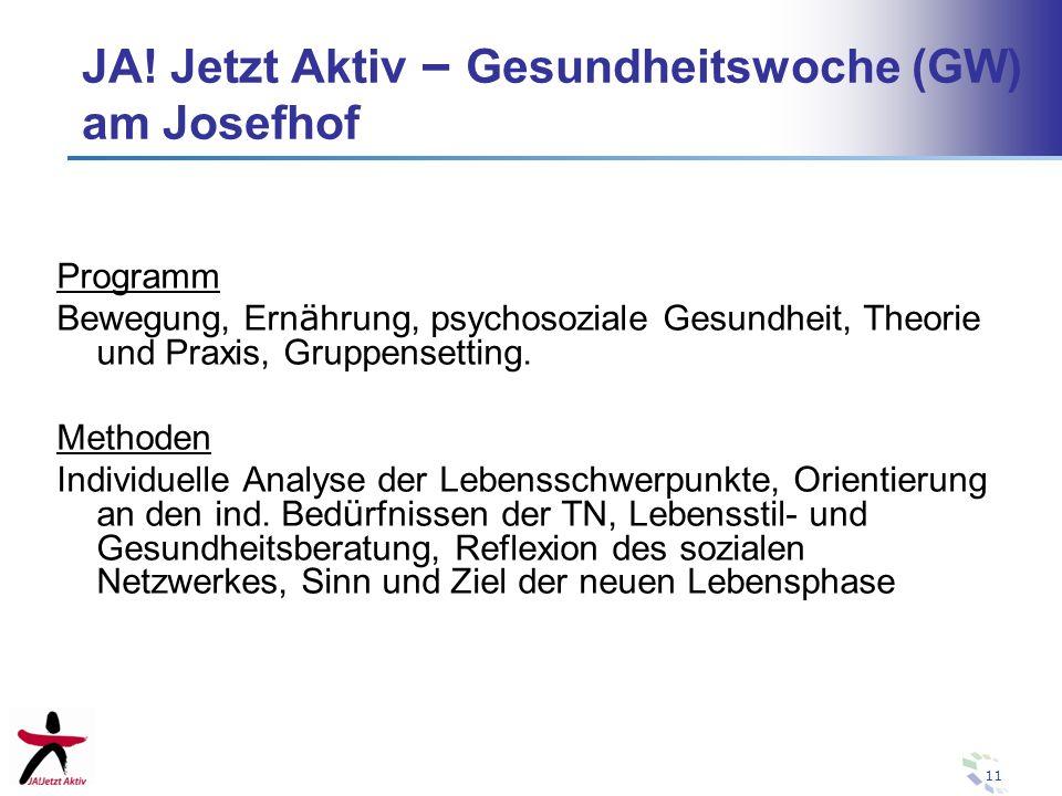 JA! Jetzt Aktiv – Gesundheitswoche (GW) am Josefhof
