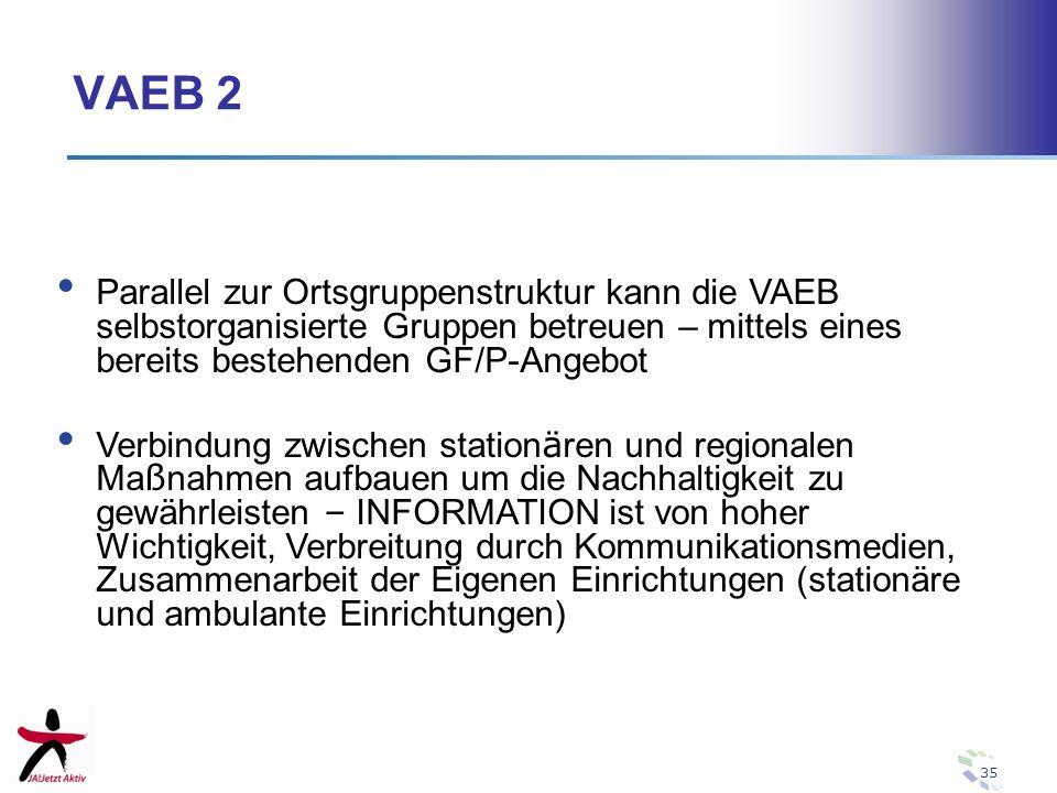 VAEB 2 Parallel zur Ortsgruppenstruktur kann die VAEB selbstorganisierte Gruppen betreuen – mittels eines bereits bestehenden GF/P-Angebot.