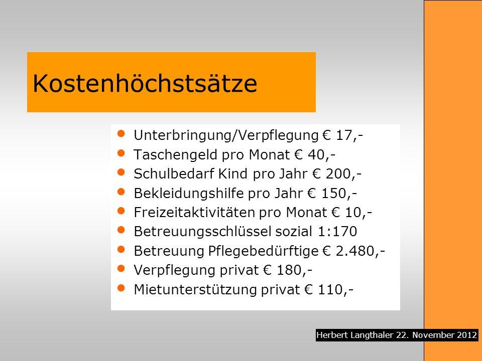 Kostenhöchstsätze Unterbringung/Verpflegung € 17,-