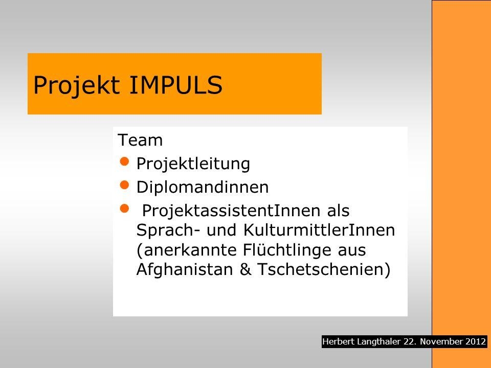 Projekt IMPULS Team Projektleitung Diplomandinnen