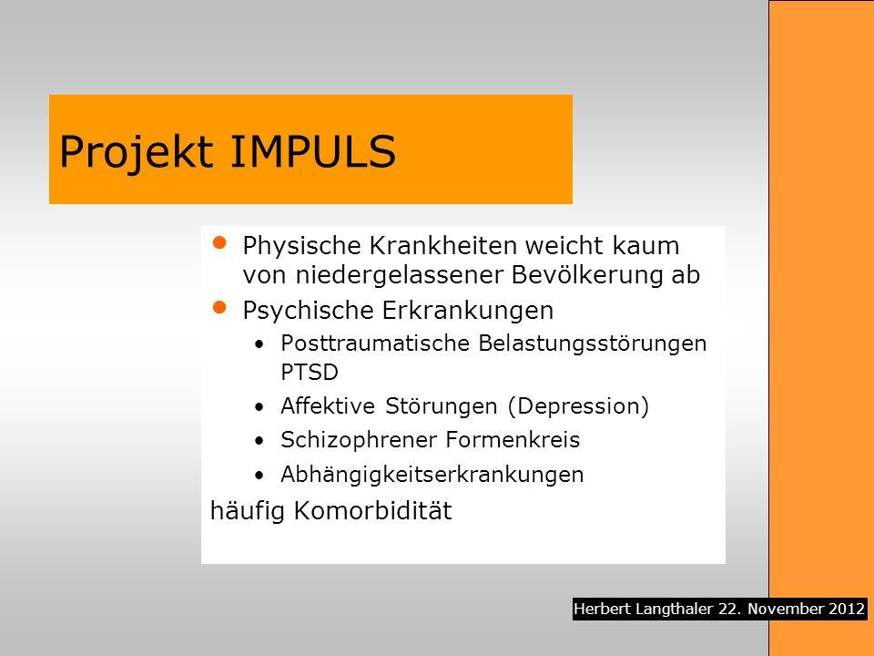 Projekt IMPULS Physische Krankheiten weicht kaum von niedergelassener Bevölkerung ab. Psychische Erkrankungen.