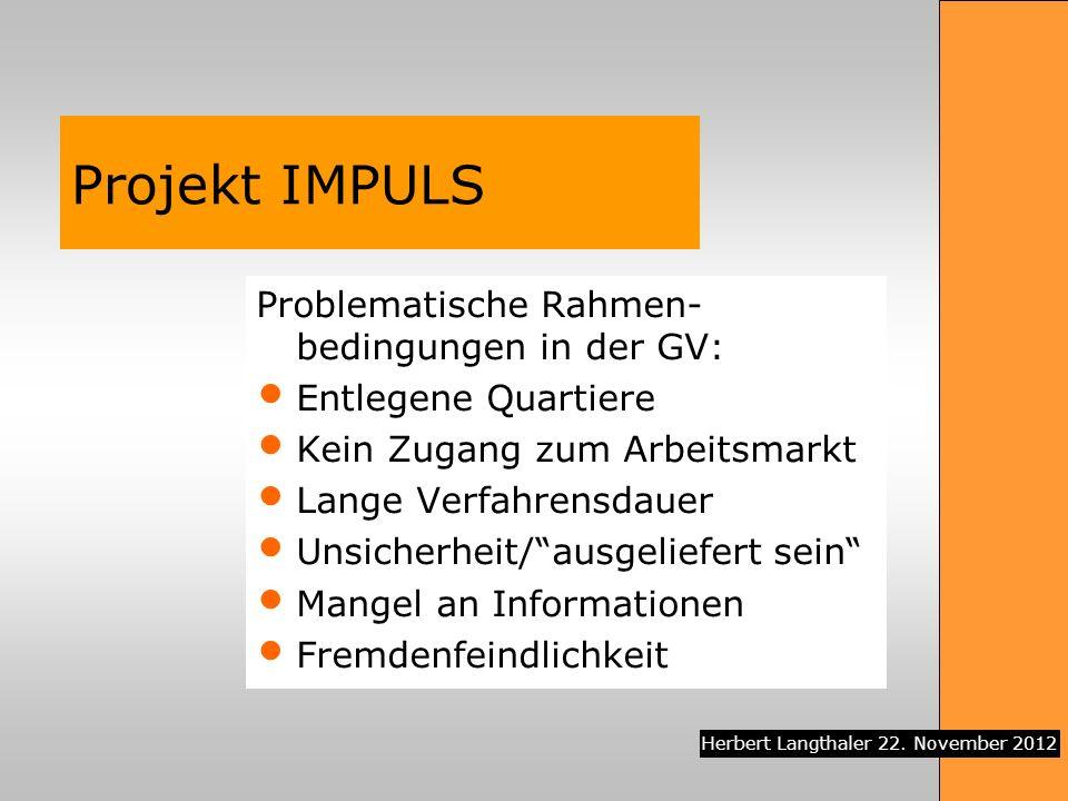 Projekt IMPULS Problematische Rahmen-bedingungen in der GV: