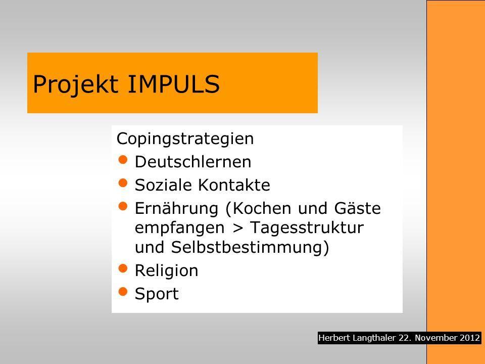Projekt IMPULS Copingstrategien Deutschlernen Soziale Kontakte