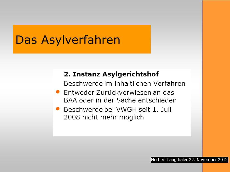 Das Asylverfahren 2. Instanz Asylgerichtshof