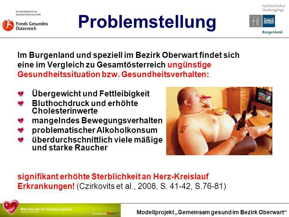Problemstellung Im Burgenland und speziell im Bezirk Oberwart findet sich. eine im Vergleich zu Gesamtösterreich ungünstige.