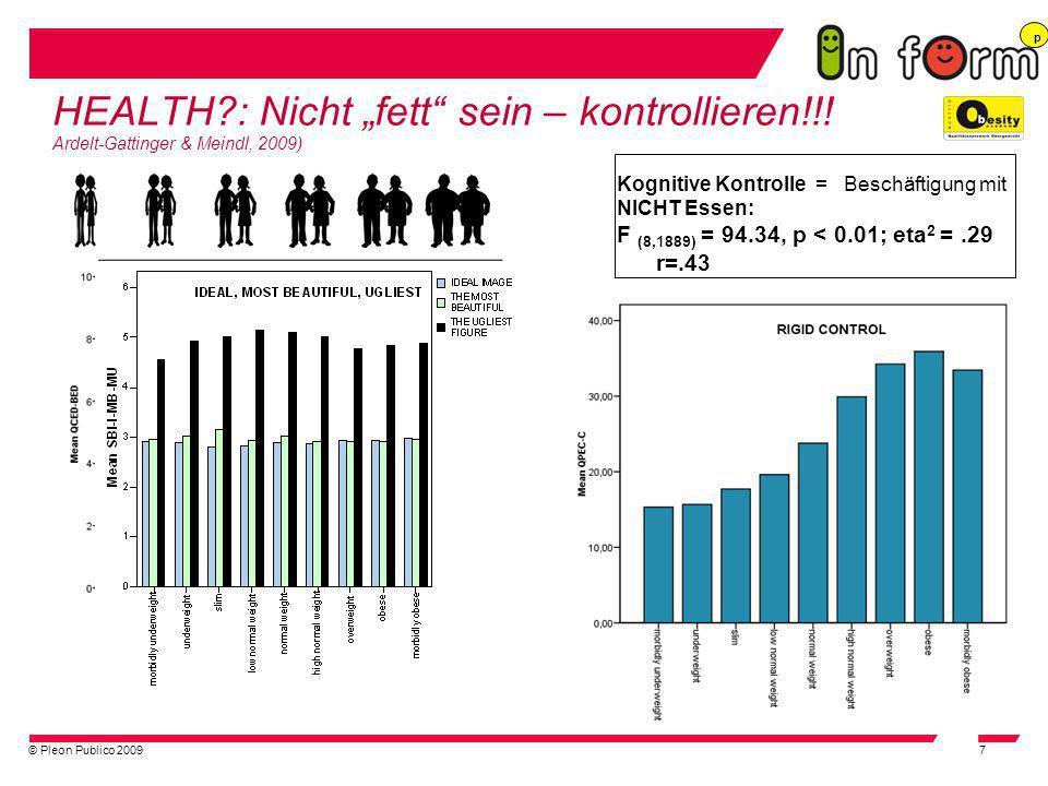 """p HEALTH : Nicht """"fett sein – kontrollieren!!! Ardelt-Gattinger & Meindl, 2009) Kognitive Kontrolle = Beschäftigung mit."""