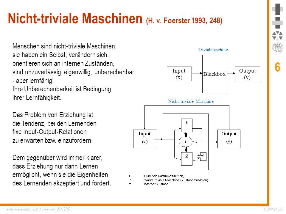 Nicht-triviale Maschinen (H. v. Foerster 1993, 248)