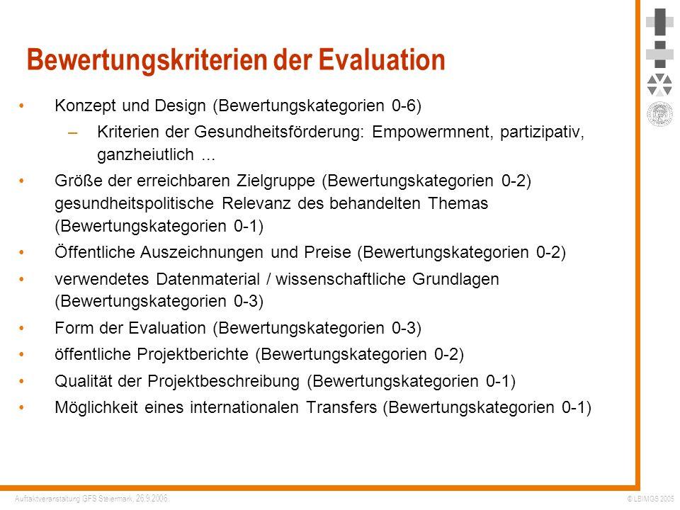 Bewertungskriterien der Evaluation