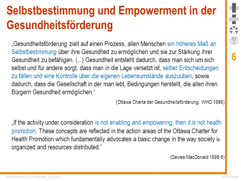 Selbstbestimmung und Empowerment in der Gesundheitsförderung