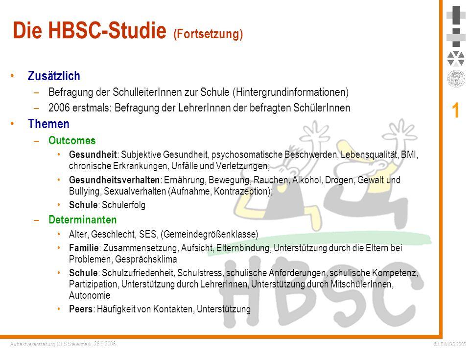 Die HBSC-Studie (Fortsetzung)