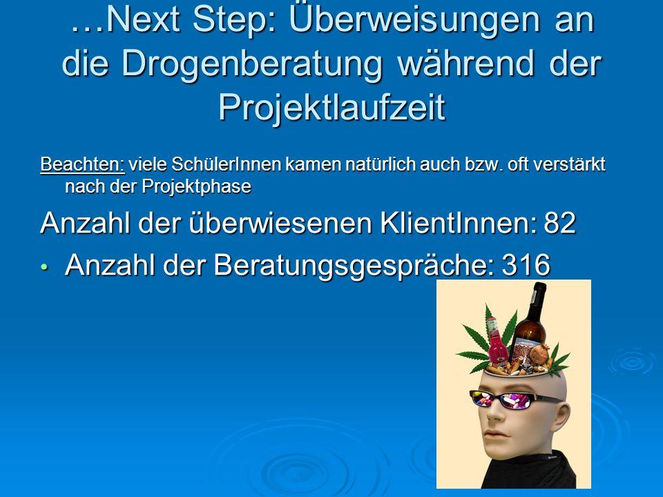…Next Step: Überweisungen an die Drogenberatung während der Projektlaufzeit