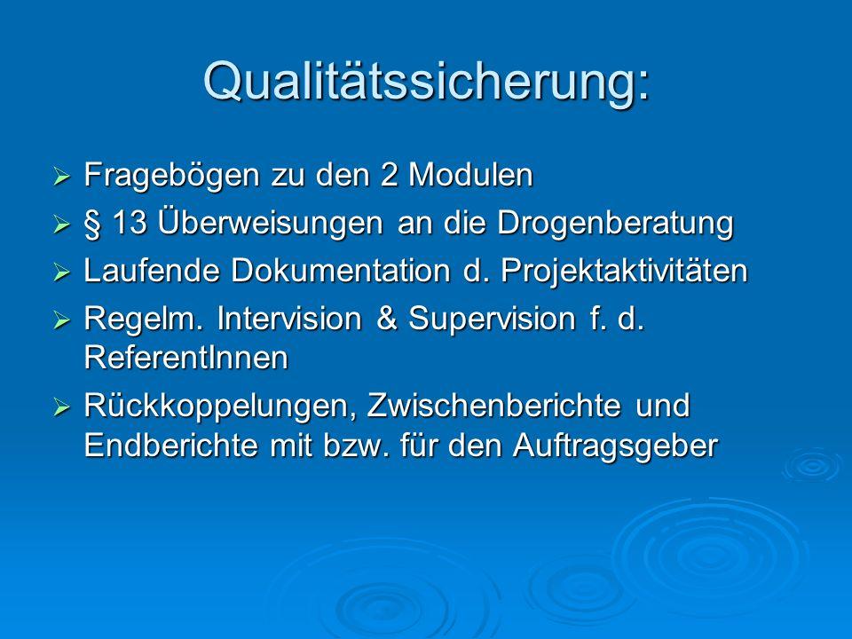 Qualitätssicherung: Fragebögen zu den 2 Modulen