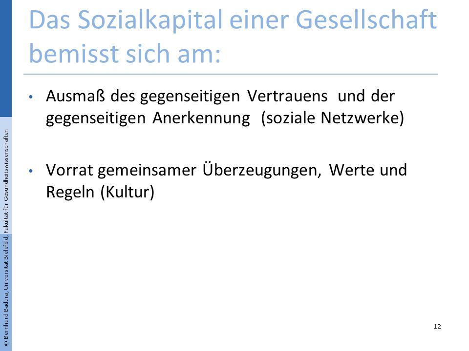 Das Sozialkapital einer Gesellschaft bemisst sich am: