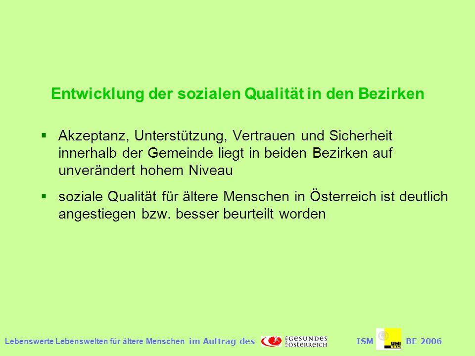 Entwicklung der sozialen Qualität in den Bezirken