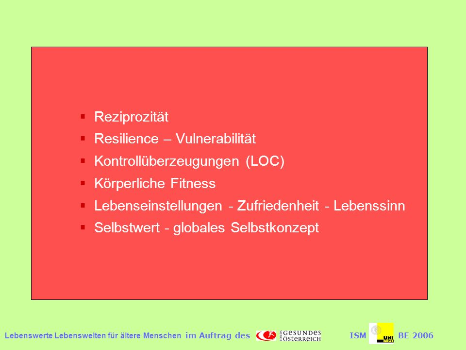 Resilience – Vulnerabilität Kontrollüberzeugungen (LOC)