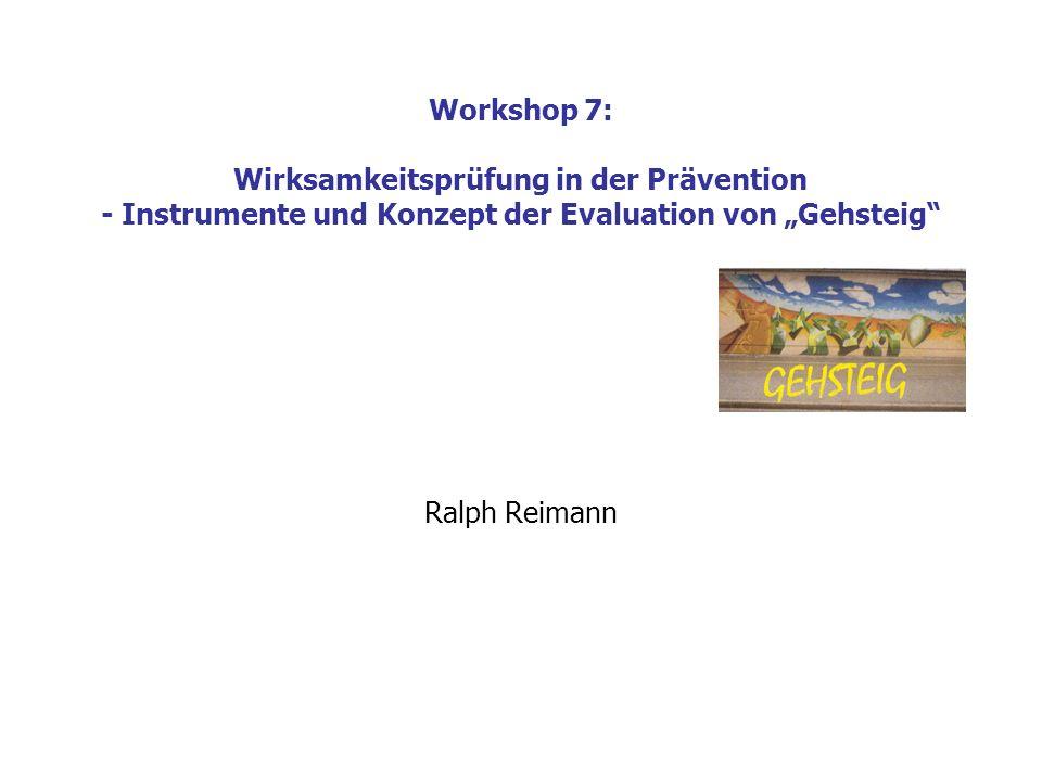 """Workshop 7: Wirksamkeitsprüfung in der Prävention - Instrumente und Konzept der Evaluation von """"Gehsteig"""