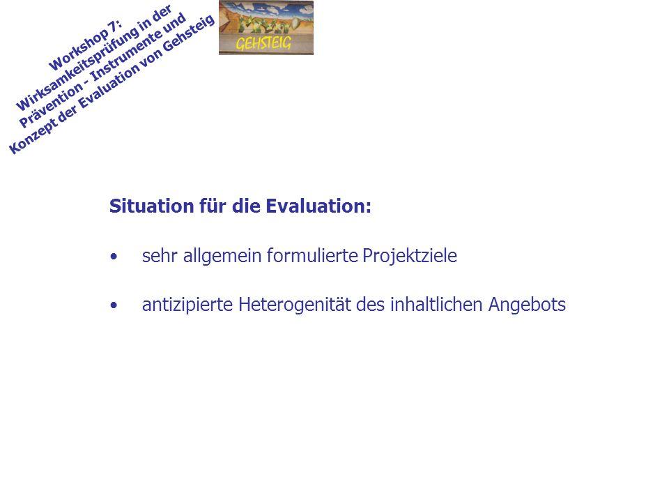 Situation für die Evaluation: sehr allgemein formulierte Projektziele