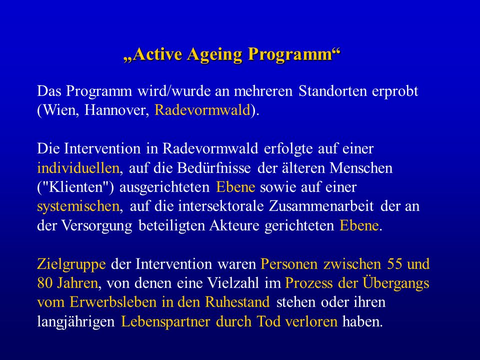 """Active Ageing Programm"