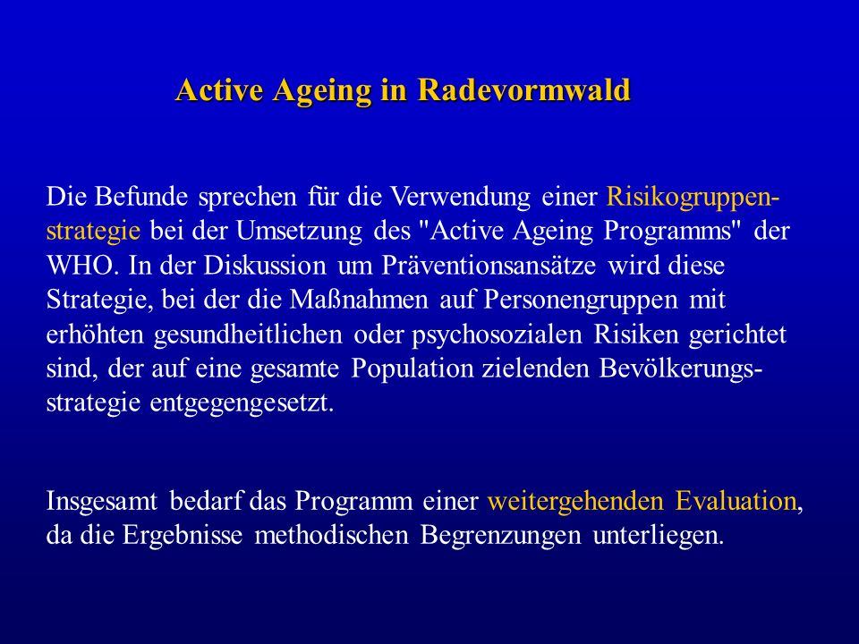 Active Ageing in Radevormwald