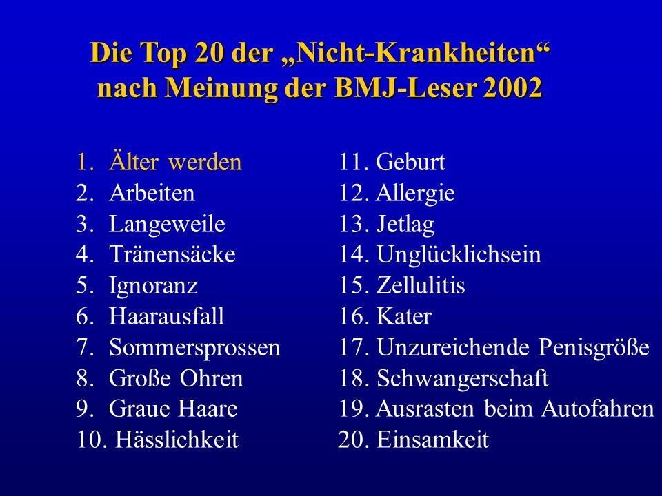 """Die Top 20 der """"Nicht-Krankheiten nach Meinung der BMJ-Leser 2002"""