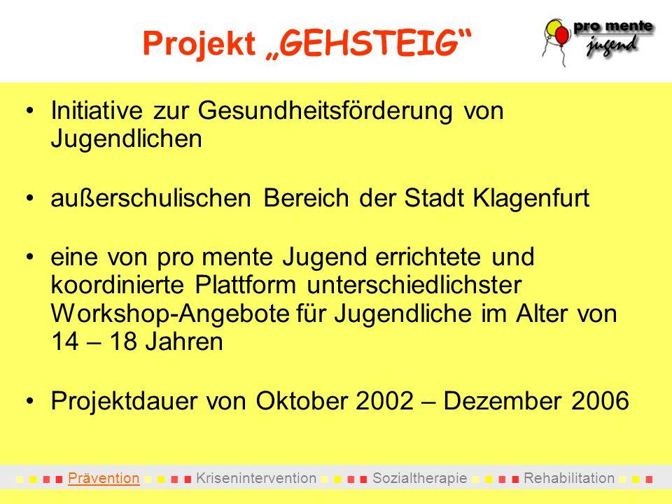 """Projekt """"GEHSTEIG Initiative zur Gesundheitsförderung von Jugendlichen. außerschulischen Bereich der Stadt Klagenfurt."""