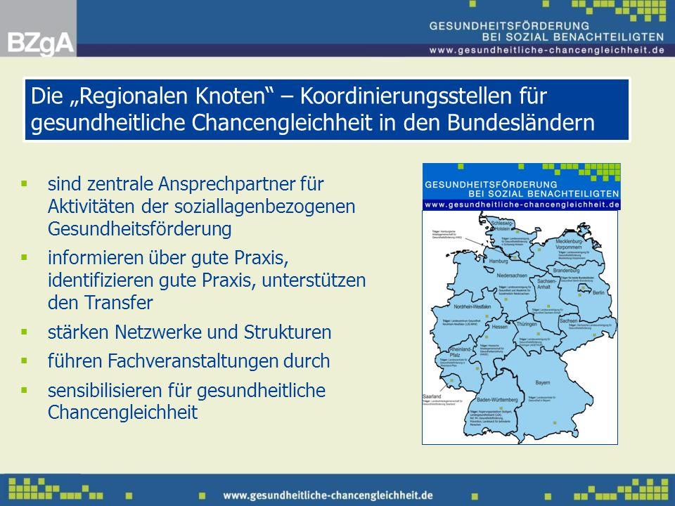 """Die """"Regionalen Knoten – Koordinierungsstellen für gesundheitliche Chancengleichheit in den Bundesländern"""