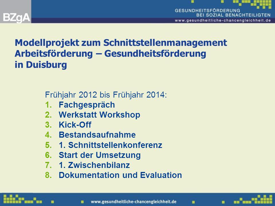 Modellprojekt zum Schnittstellenmanagement Arbeitsförderung – Gesundheitsförderung in Duisburg