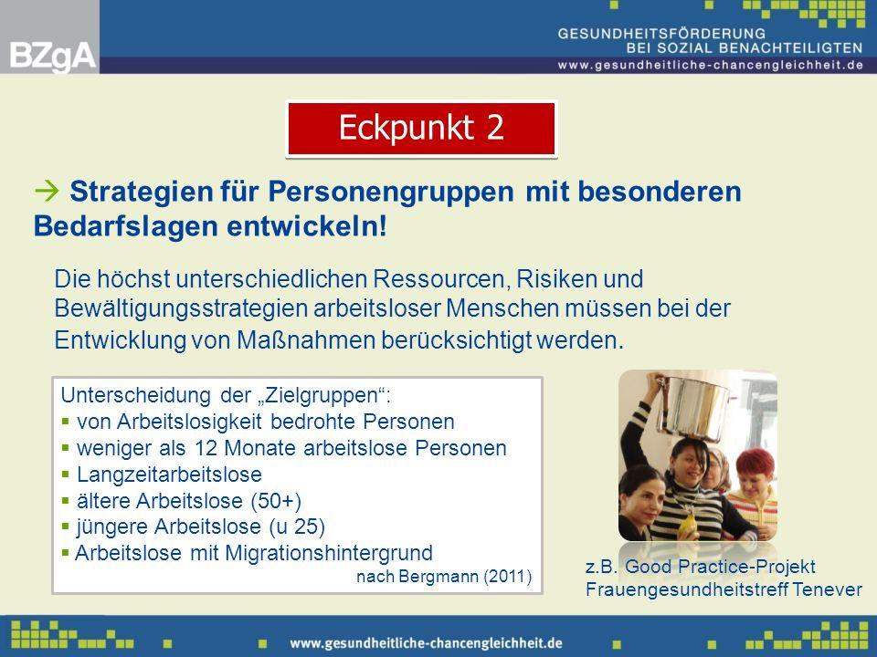 Eckpunkt 2 Strategien für Personengruppen mit besonderen Bedarfslagen entwickeln!