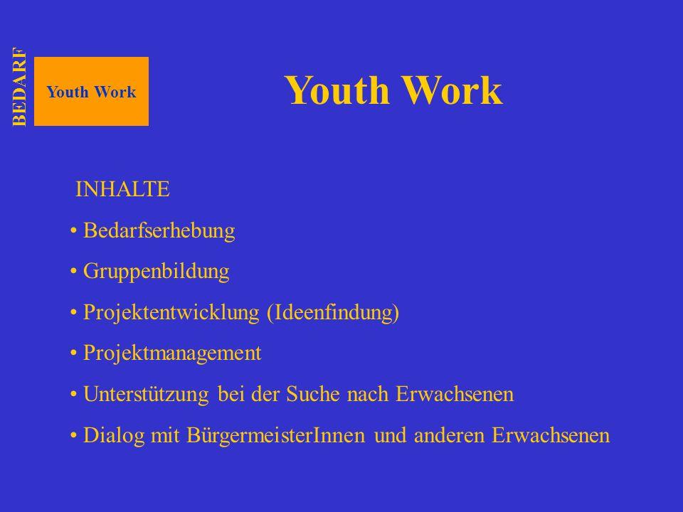 Youth Work INHALTE Bedarfserhebung Gruppenbildung