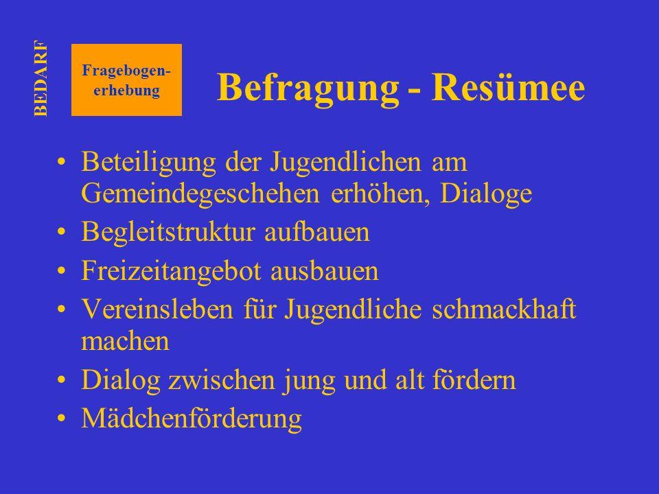 BEDARF Fragebogen- erhebung. Befragung - Resümee. Beteiligung der Jugendlichen am Gemeindegeschehen erhöhen, Dialoge.