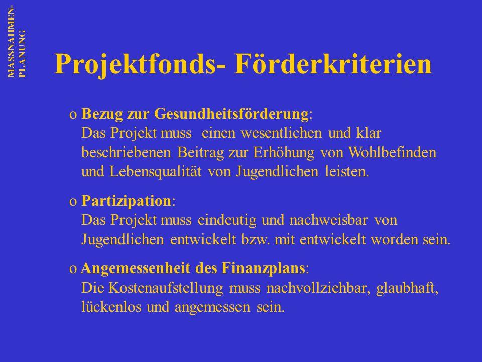 Projektfonds- Förderkriterien