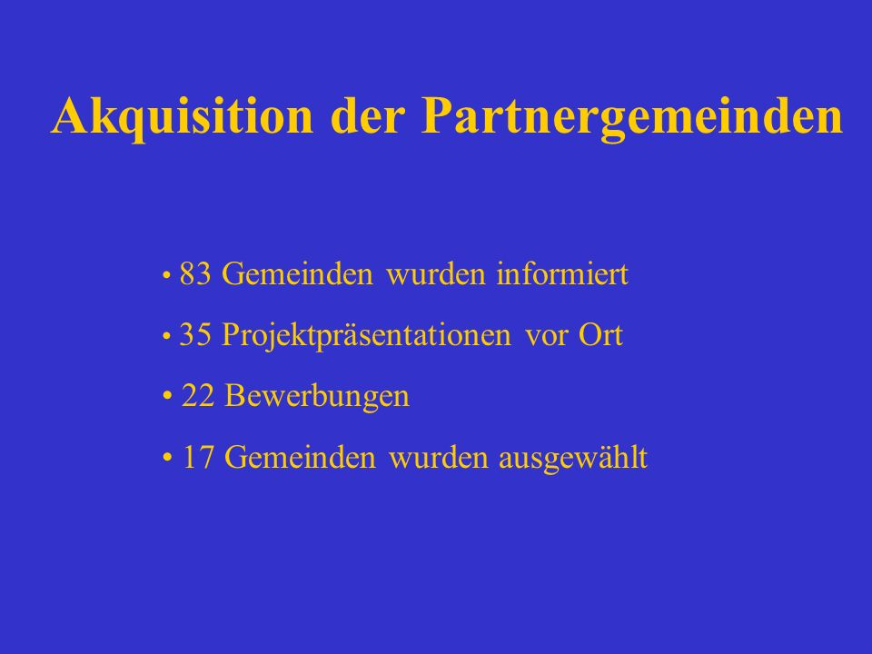 Akquisition der Partnergemeinden