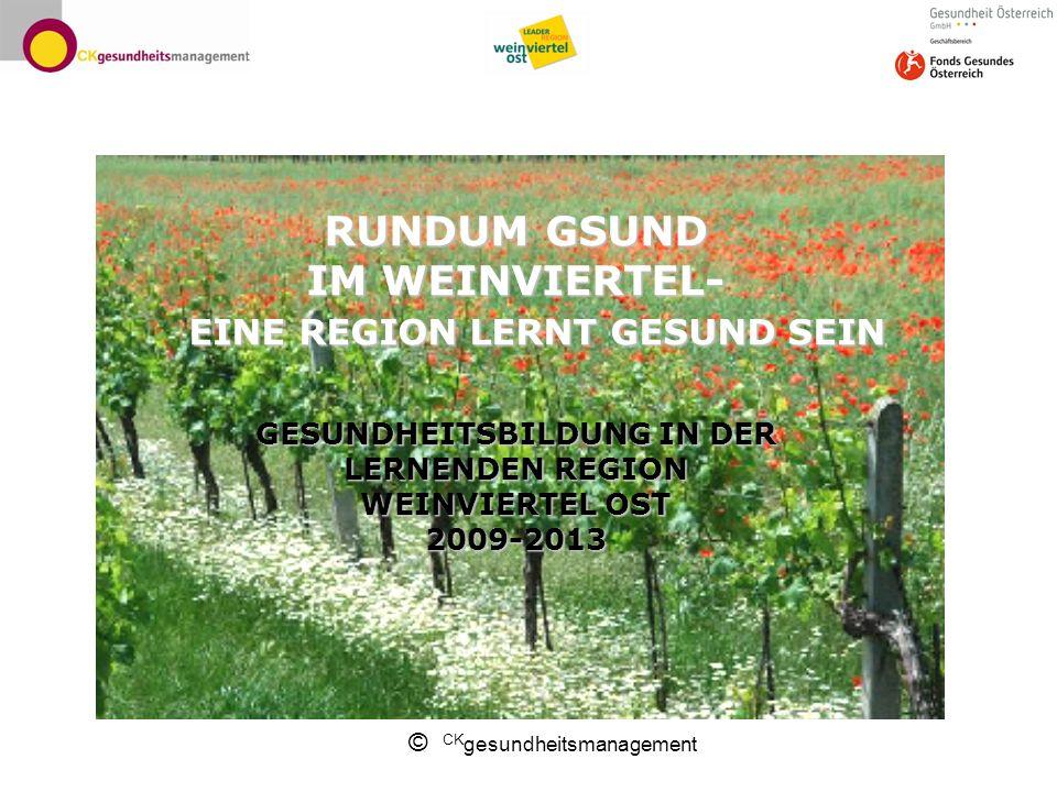 RUNDUM GSUND IM WEINVIERTEL- EINE REGION LERNT GESUND SEIN GESUNDHEITSBILDUNG IN DER LERNENDEN REGION WEINVIERTEL OST 2009-2013