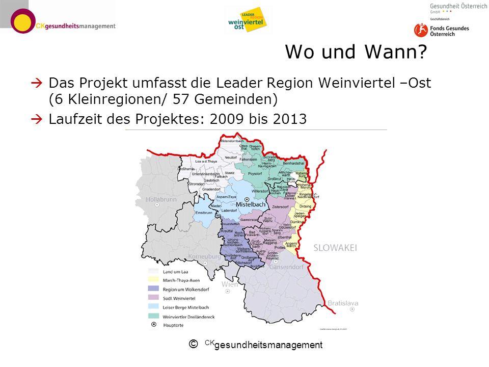 Wo und Wann Das Projekt umfasst die Leader Region Weinviertel –Ost (6 Kleinregionen/ 57 Gemeinden)