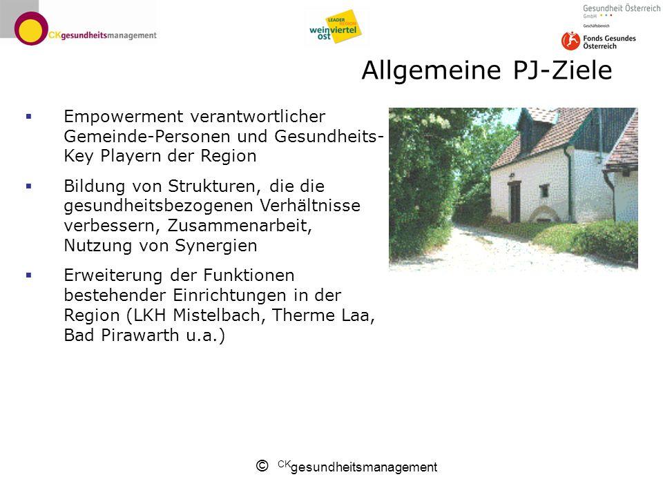 Allgemeine PJ-Ziele Empowerment verantwortlicher Gemeinde-Personen und Gesundheits-Key Playern der Region.