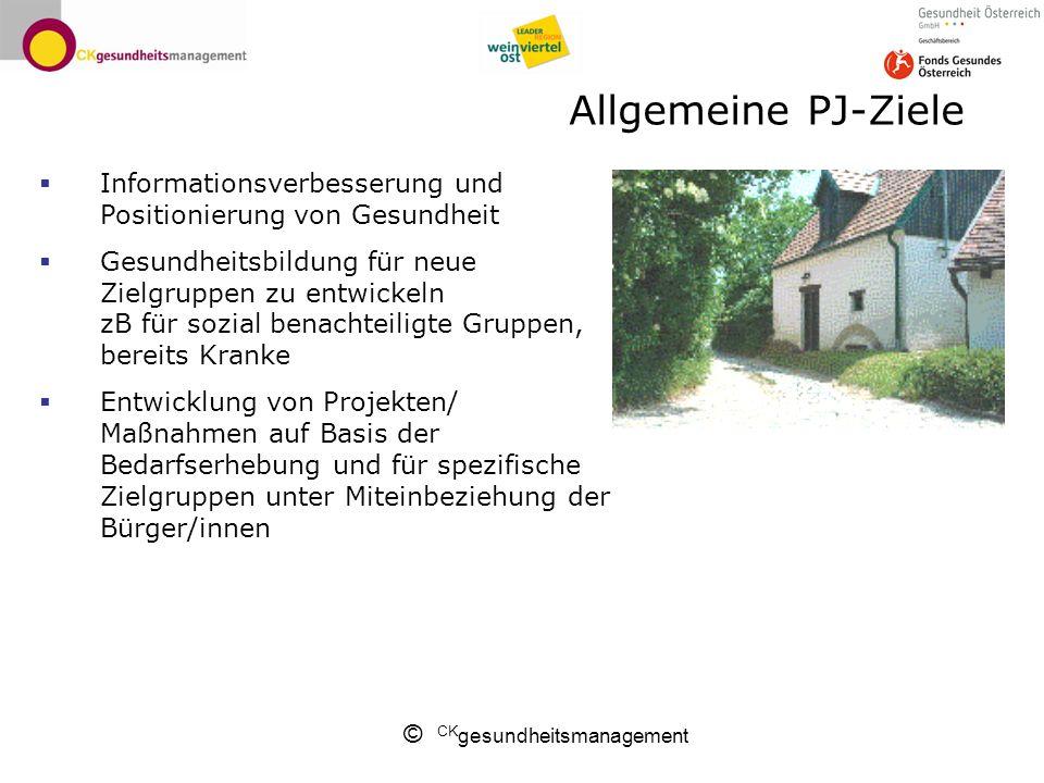Allgemeine PJ-Ziele Informationsverbesserung und Positionierung von Gesundheit.