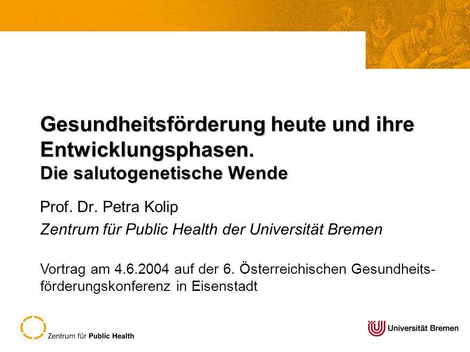 Prof. Dr. Petra Kolip Zentrum für Public Health der Universität Bremen