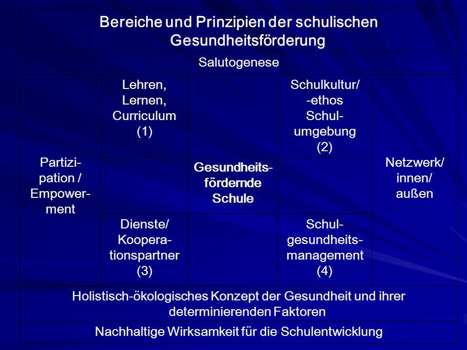 Bereiche und Prinzipien der schulischen Gesundheitsförderung
