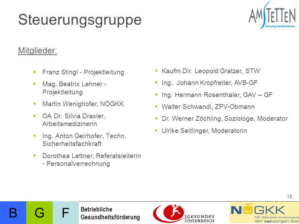 Steuerungsgruppe Mitglieder: Franz Stingl - Projektleitung