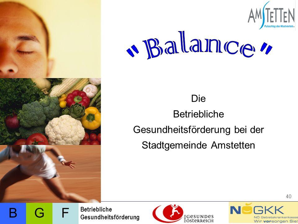 Balance Die Betriebliche Gesundheitsförderung bei der