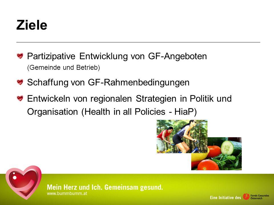 Ziele Partizipative Entwicklung von GF-Angeboten (Gemeinde und Betrieb) Schaffung von GF-Rahmenbedingungen.
