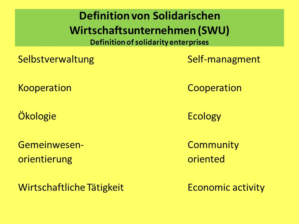 Definition von Solidarischen Wirtschaftsunternehmen (SWU) Definition of solidarity enterprises