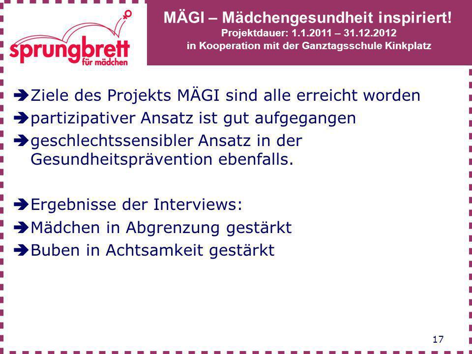 Ziele des Projekts MÄGI sind alle erreicht worden