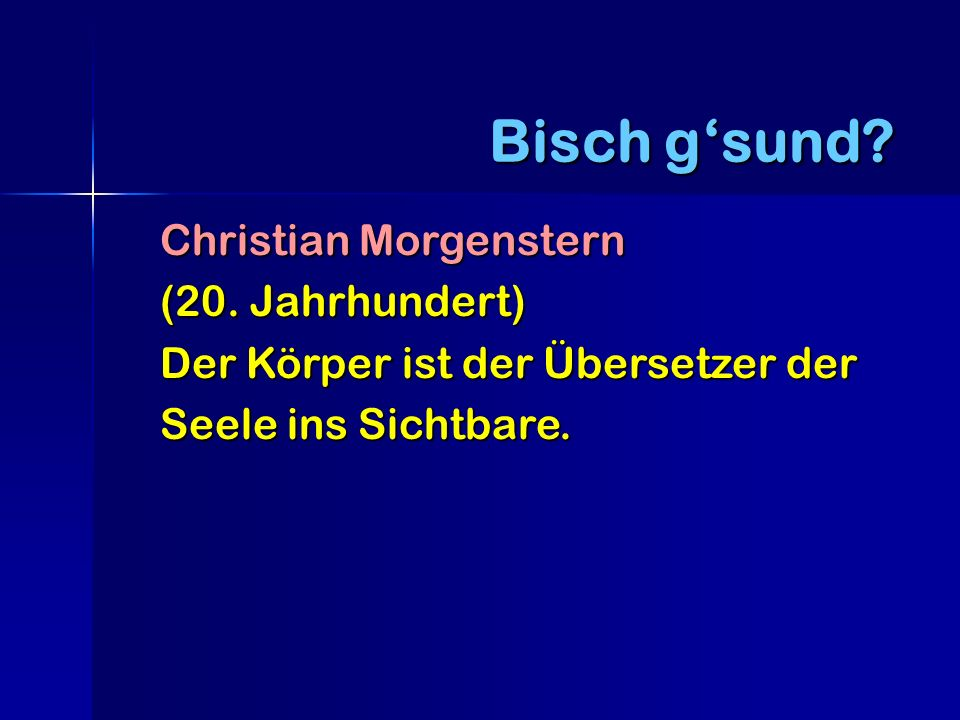 Bisch g'sund Christian Morgenstern (20. Jahrhundert)