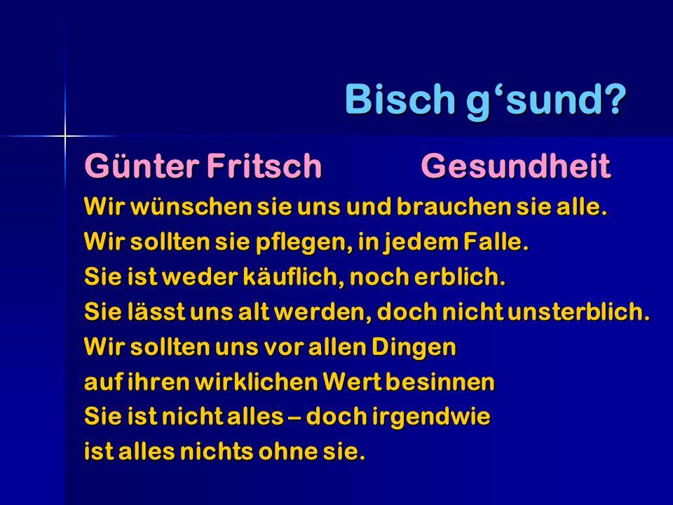 Bisch g'sund Günter Fritsch Gesundheit