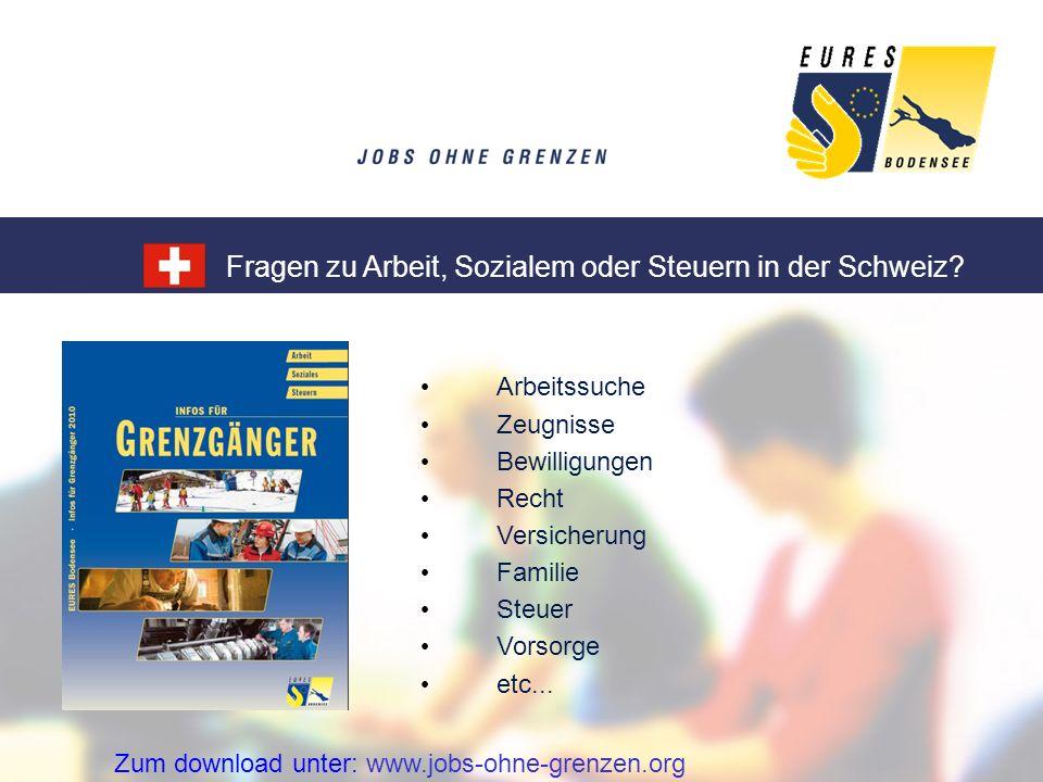 Fragen zu Arbeit, Sozialem oder Steuern in der Schweiz