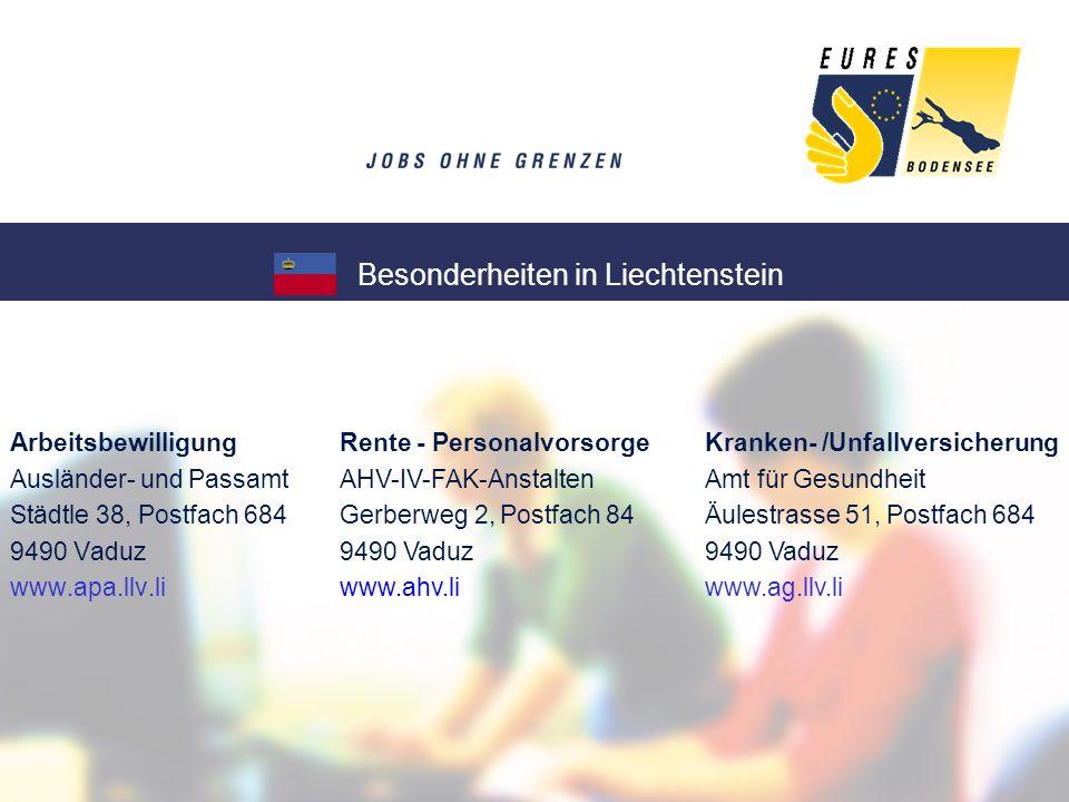 Besonderheiten in Liechtenstein