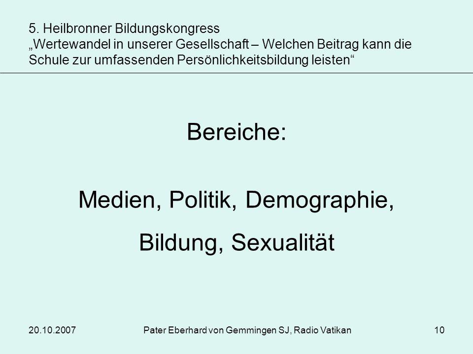 Medien, Politik, Demographie, Bildung, Sexualität